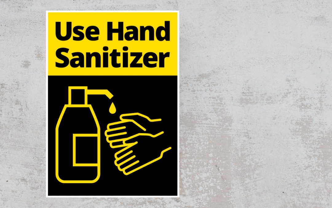Use hand sanitizer sign on wall - color black and yellow