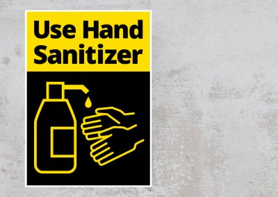 Social Safety Sign – Use Hand Sanitizer Sticker – Black and Yellow