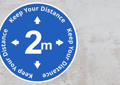 Rounded Social Distancing Sign – Keep Your Distance 2 m Sticker – Blue and White