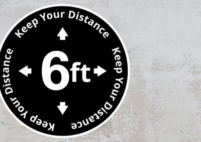 Rounded Social Distancing Sign – Keep Your Distance 6 Feet Sticker – Black and White