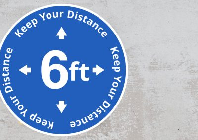 Rounded Social Distancing Sign – Keep Your Distance 6 Feet Sticker – Blue and White