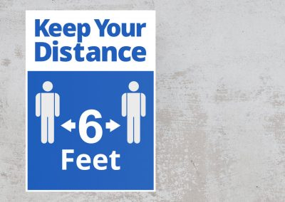 Social Distancing Sign – Keep Your Distance 6 Feet Sticker – Blue and White