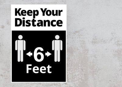 Social Distancing Sign – Keep Your Distance 6 Feet Sticker – Black and White