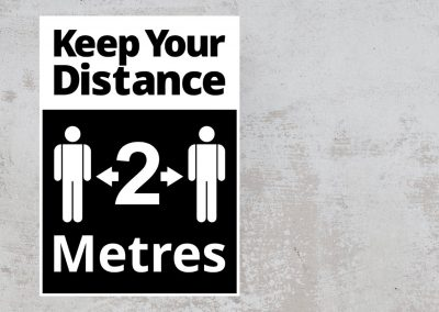 Social Distancing Sign – Keep Your Distance 2 Metres Sticker – Black and White