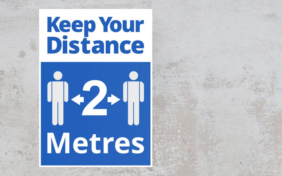 keep your distance sticker in color blue and white