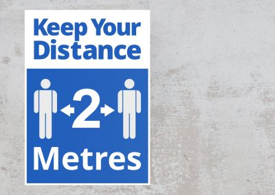 Social Distancing Sign – Keep Your Distance 2 Metres Sticker – Blue and White