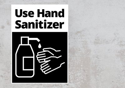 Social Safety Sign – Use Hand Sanitizer Sticker – Black and White