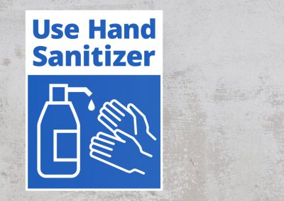Use Hand Sanitizer Sign Sticker – Blue and White