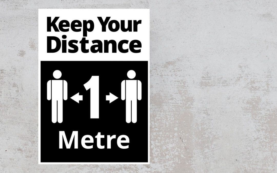 Keep Your Distance 1 metre - social safety sign Sticker