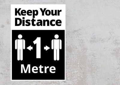 Keep Your Distance 1 Metre – Social Safety Sign – Black and White Sticker
