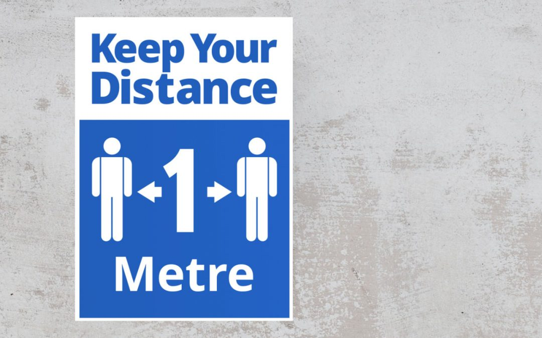 Keep Your Distance 1 metre - social safety sign Sticker blue and white