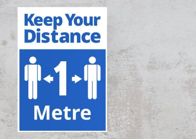 Keep Your Distance 1 Metre – Social Safety Sign Sticker