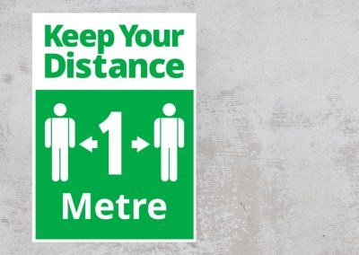 Social Safety Sign – Keep Your Distance 1 Metre – Green and White Sticker