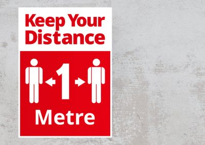 Social Safety Sign – Keep Your Distance 1 Metre – Red and White Sticker