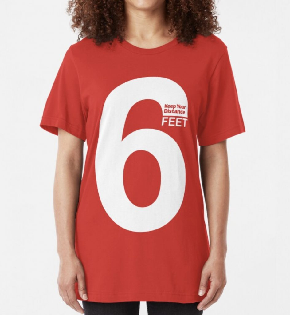 Keep Your Distance 6 Feet red social distancing t-shirt