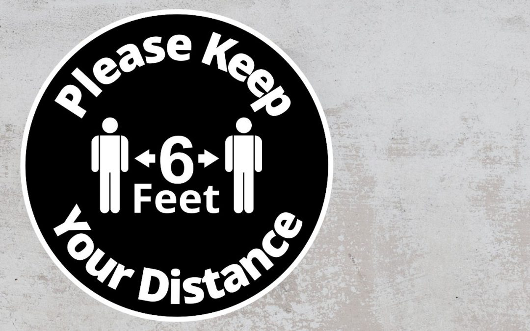 Please Keep Your Distance 6 feet - Rounded Sign, Black and White Sticker