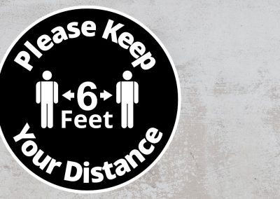Please Keep Your Distance 6 feet – Rounded Sign, Black and White Sticker