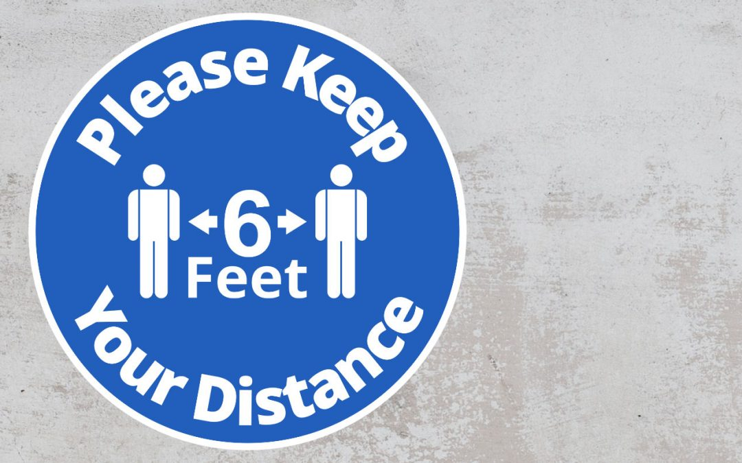 Please Keep Your Distance 6 feet - Rounded Sign, Blue and White Sticker
