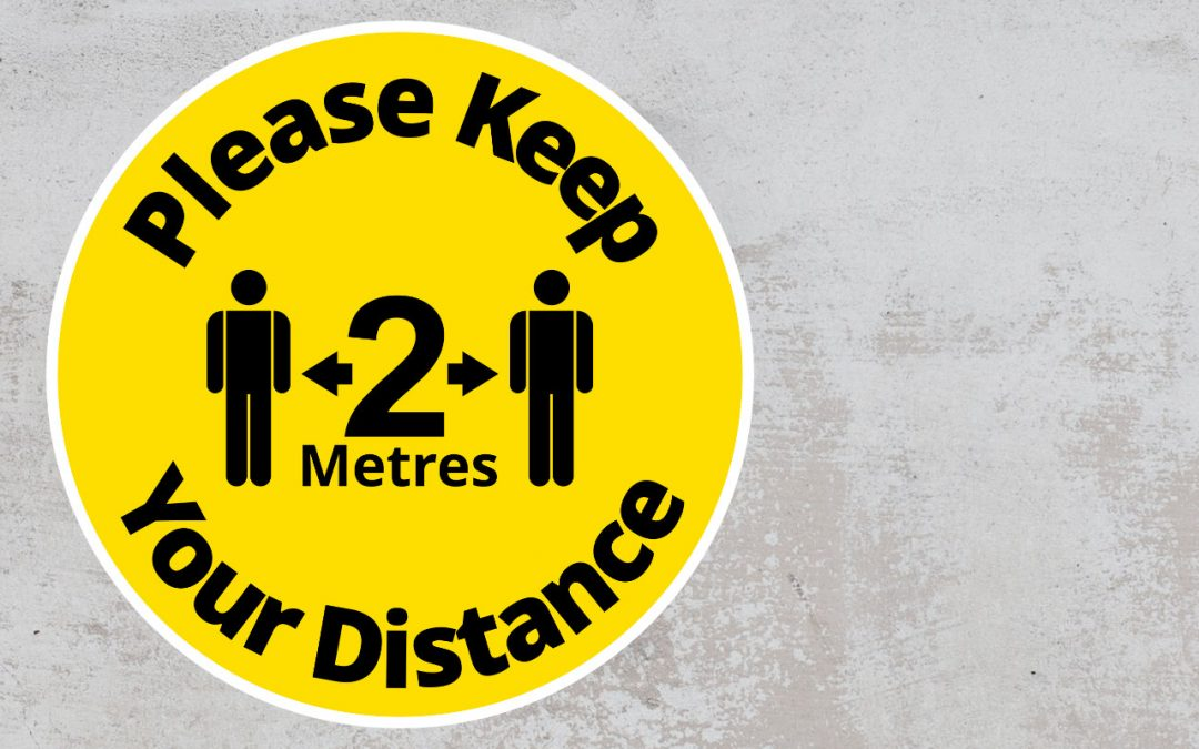 Please Keep Your Distance 2 metres - Rounded Sign, Black and Yellow Sticker
