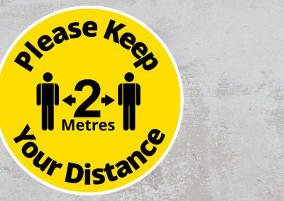Please Keep Your Distance 2 Metres – Rounded Sign – Black and Yellow Sticker