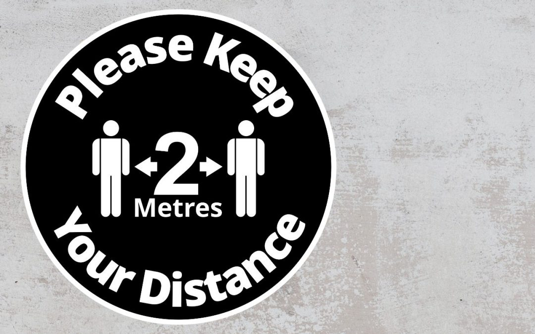 Please Keep Your Distance 2 metres - Rounded Sign, Black and White Sticker