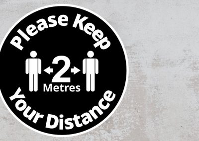 Please Keep Your Distance 2 Metres – Rounded Sign – Black and White Sticker