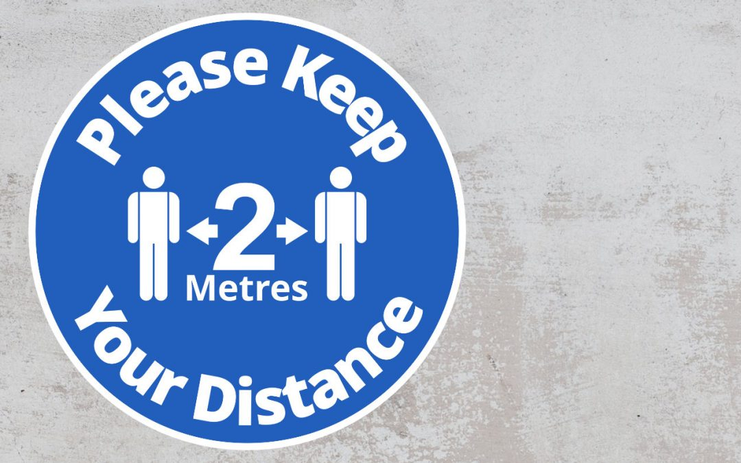 Please Keep Your Distance 2 metres - Rounded Sign, Blue and White Sticker