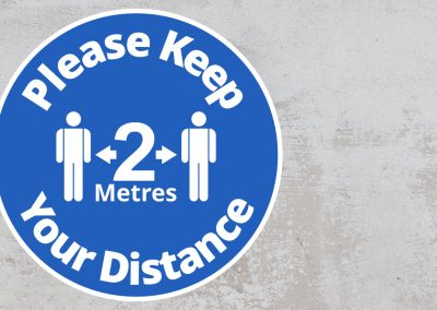 Please Keep Your Distance 2 Metres – Rounded Sign – Blue and White Sticker