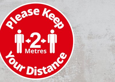 Please Keep Your Distance 2 Metres – Rounded Sign – Red and White Sticker