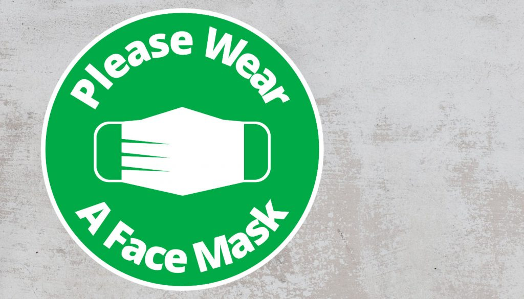 Please Wear A Face mask - Rounded Sign, Green and White Sticker