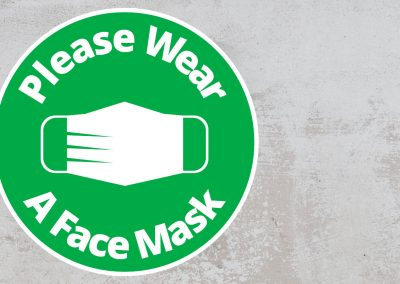 Please Wear A Face Mask – Rounded Sign, Green and White Sticker