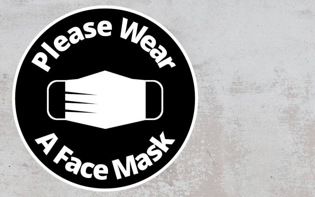Please Wear A Face mask - Rounded Sign, Black and White Sticker