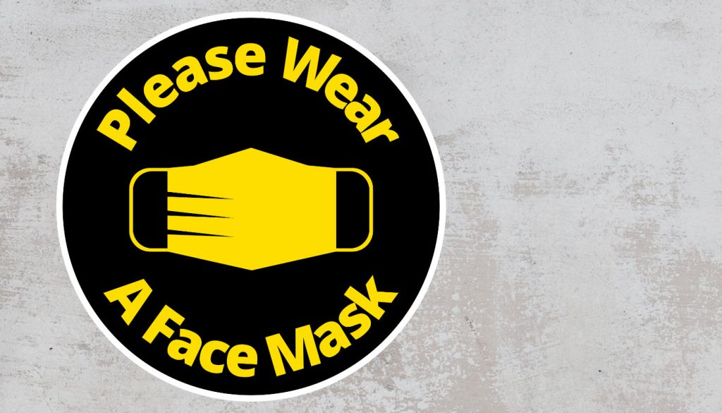 Please Wear A Face mask - Rounded Sign, Black and Yellow Sticker