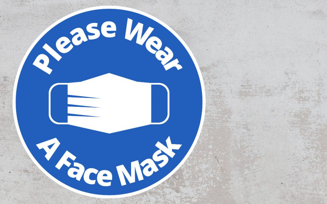 Please Wear A Face mask - Rounded Sign, Blue and White Sticker