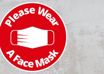 Please Wear A Face Mask – Rounded Sign – Red and White Sticker