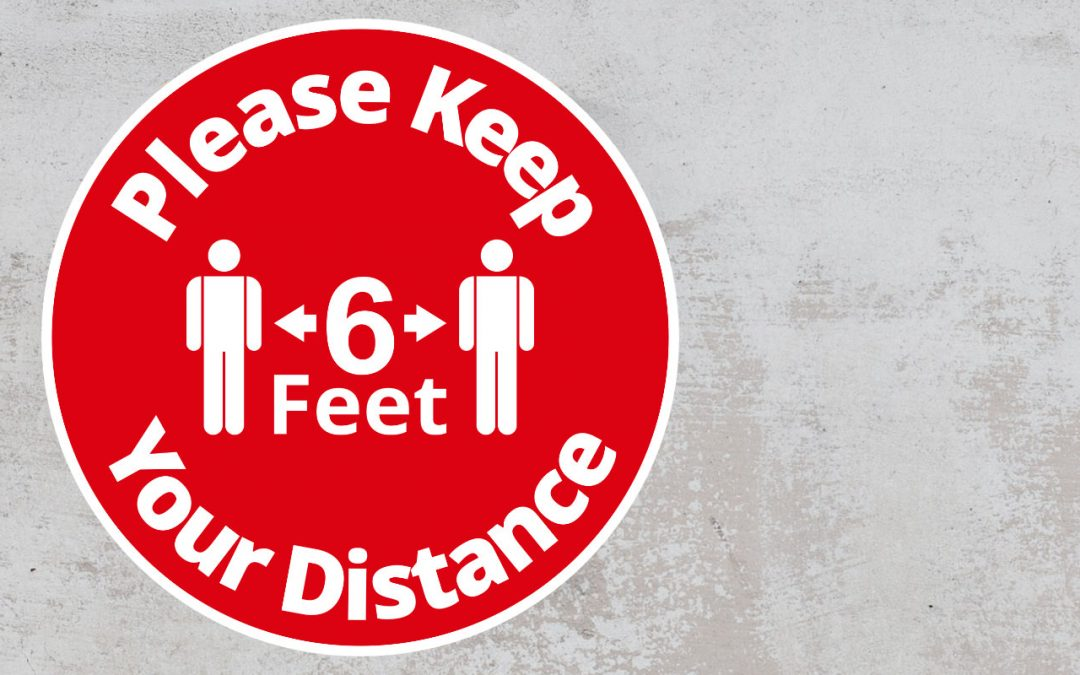 Please Keep Your Distance 6 feet - Rounded Sign, Red and White Sticker