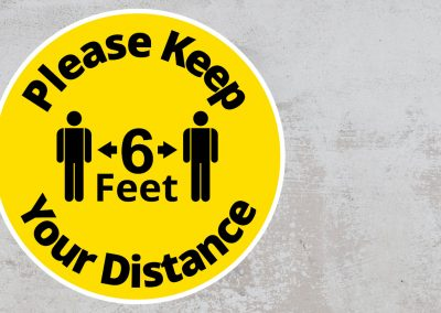 Please Keep Your Distance 6 feet – Rounded Sign, Black and Yellow Sticker