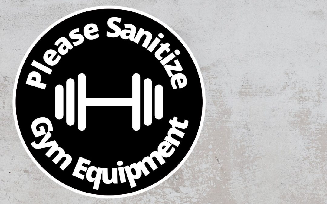 Please Sanitize gym equipment - Rounded Sign, Black and White Sticker