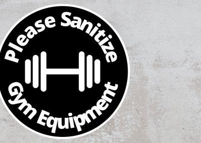 Please Sanitize Gym Equipment – Rounded Sign, Black and White Sticker