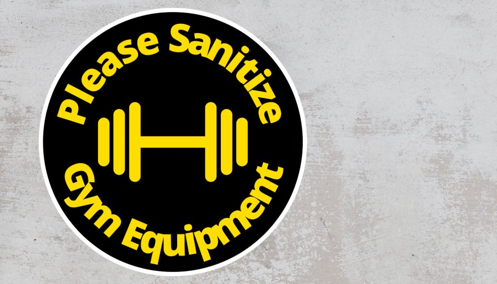 Please Sanitize gym equipment - Rounded Sign, Black and Yellow Sticker