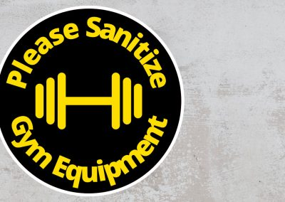 Please Sanitize Gym Equipment – Rounded Sign, Black and Yellow Sticker
