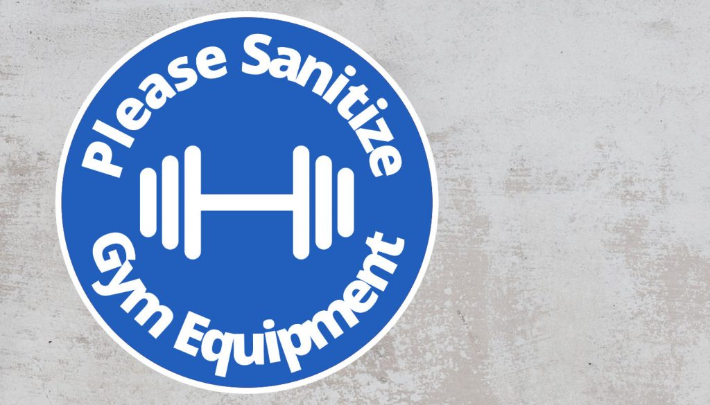 Please Sanitize gym equipment - Rounded Sign, Blue and White Sticker
