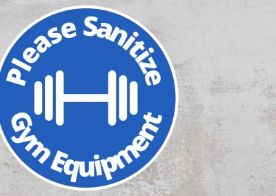 Please Sanitize Gym Equipment – Rounded Sign, Blue and White Sticker