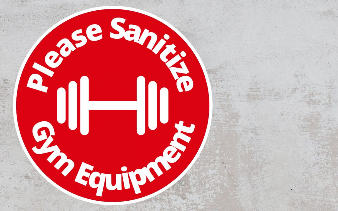 Please Sanitize gym equipment - Rounded Sign, Red and White Sticker