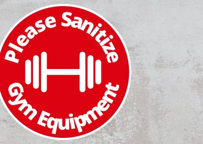 Please Sanitize Gym Equipment – Rounded Design, Red and White Sticker