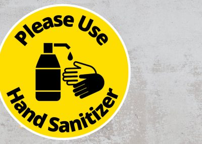 Please Use Hand Sanitizer – Rounded Sign, Black and Yellow Sticker
