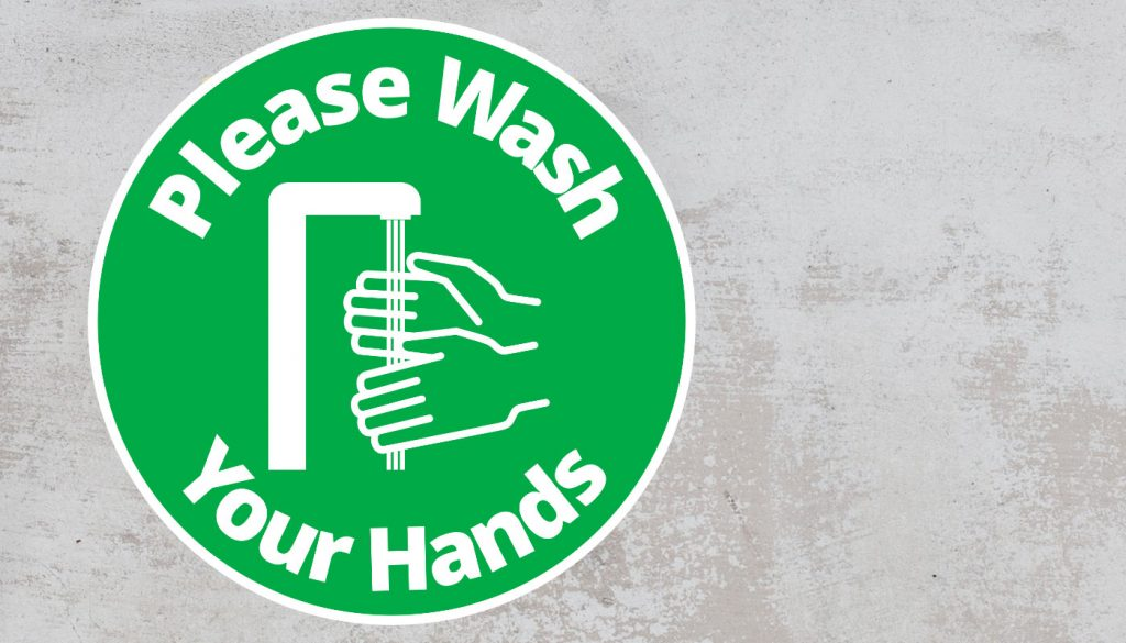 Please Wash Your Hand - Rounded Sign, Green and White