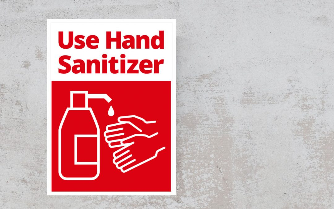 Red and White sign - Use Hand Sanitizer Sticker