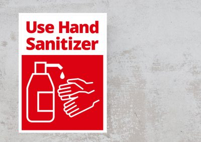 Red and White Sticker – Use Hand Sanitizer Sign