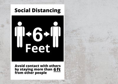 Social Distancing sign – 6 feet – Black and White Sticker